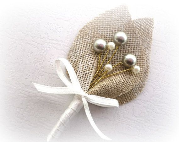 Gray Swarovski Beaded Baby's Breath, Beige Burlap Wedding Men Accessories Boutonniere, Pin, Linen, Groomsman, Country Weddings, Shabby Chic on Etsy, $9.00