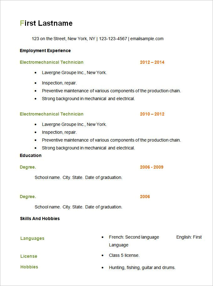 Resume Examples Basic Lebenslauf