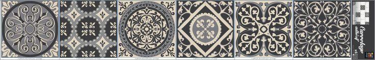 décoration salle de bain- carreaux de ciment gris - adhésif pour carrelage déco azulejos