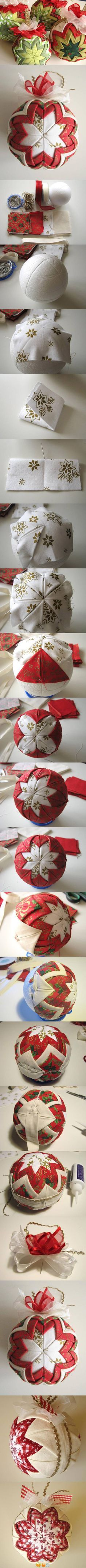 Step by step for a quilted ornament.