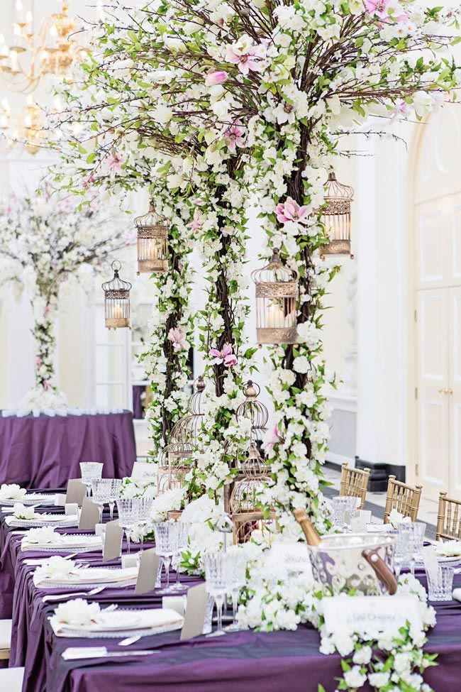 Beautiful Purple And Pastels Centerpiece Reception Decor
