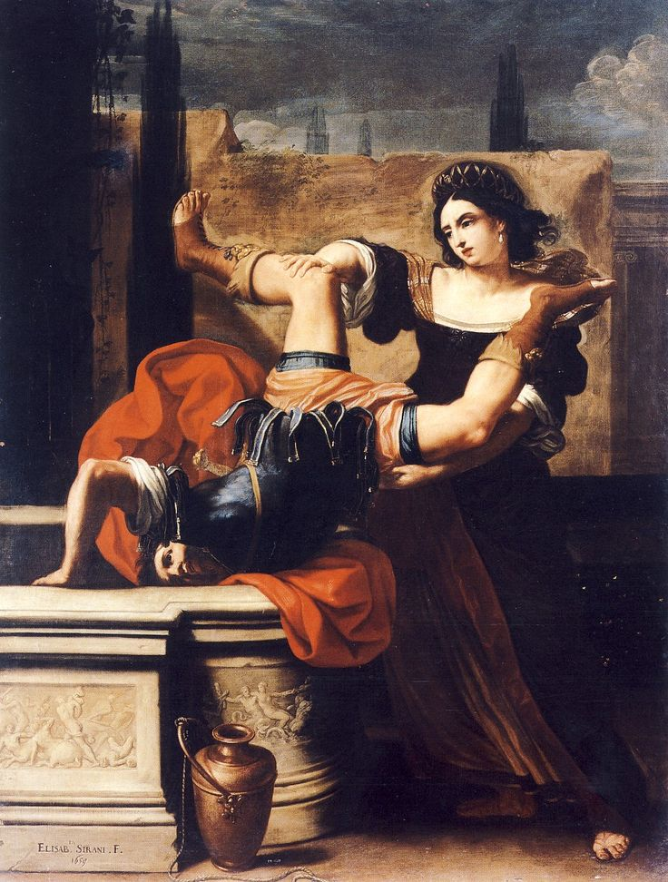 Elisabetta Sirani- Timoclea uccide il re dei Traci 1659. Museo di Capodimonte, Napoli.
