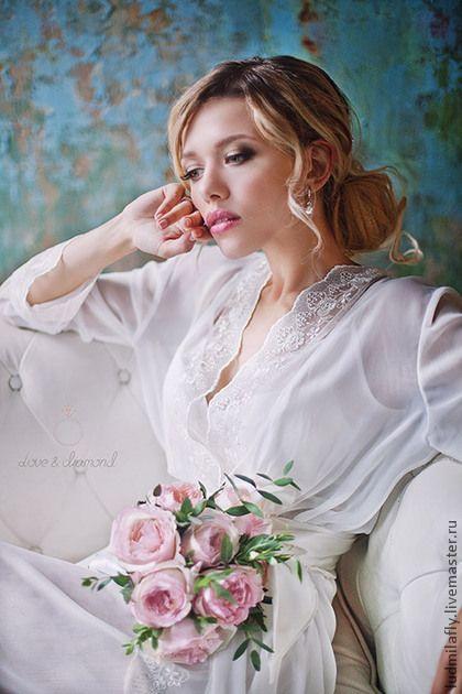 Белый длинный комплект с кружевом для невесты