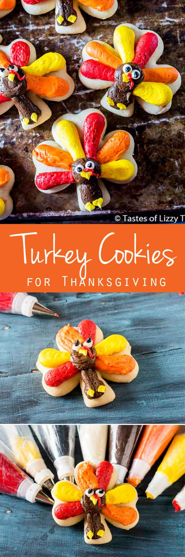 Cut out sugar cookies with buttercream frosting are easy to decorate. Get the tutorial for these cute Turkey Cookies for Thanksgiving! via @tastesoflizzyt