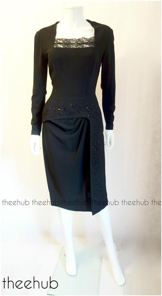 Vtg 1940s Exquisite Couture Glass Bead Hourglass Black Cocktail Dress Ristedt