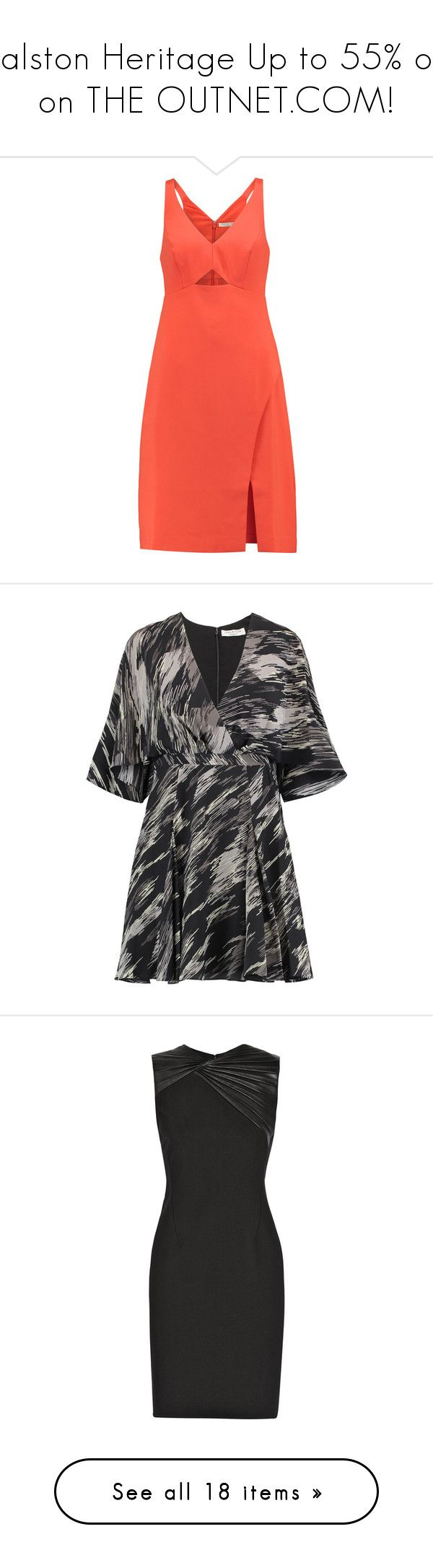 """""""Halston Heritage Up to 55% off on THE OUTNET.COM!"""" by theoutnet ❤ liked on Polyvore featuring dresses, bright orange, red cut-out dresses, colorful dresses, multi color sequin dress, red sequin dress, orange wrap dress, black, sleeved dresses and sequin wrap dress"""