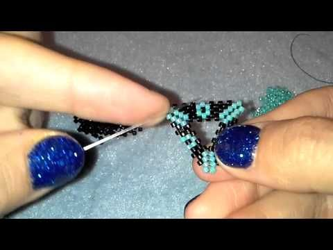 BeadsFriends: Basic Peyote Tutorial - Peyote open shapes: how to make a holed triangle with beads - YouTube