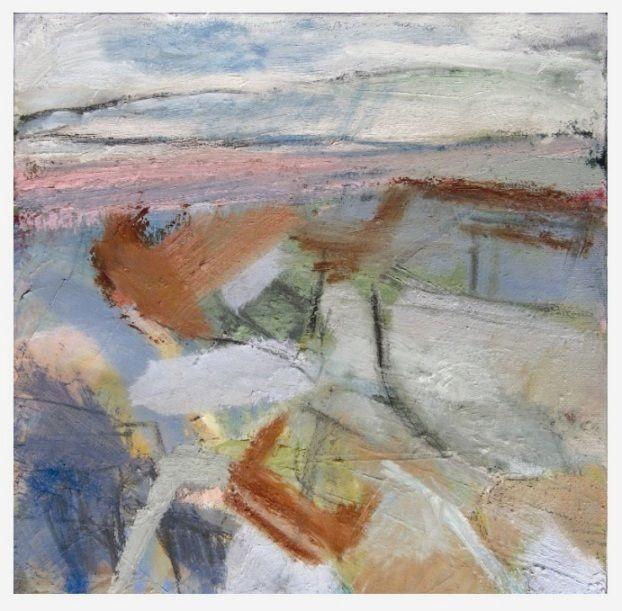 'Along the Rocky Shore', Janine Baldwin, oil & charcoal on canvas, 25 x 25cm  www.janinebaldwin.com