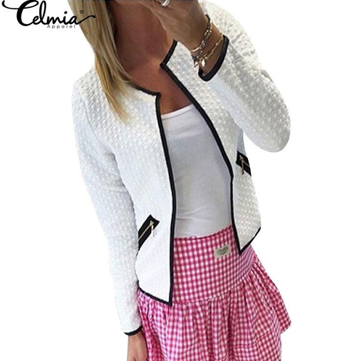 Celmia plus size S-4XL Women Jacket 2017 Autumn Women Basic Jacket Long Sleeve Pockets Slim Short Cardigan Coat Casual Outwear
