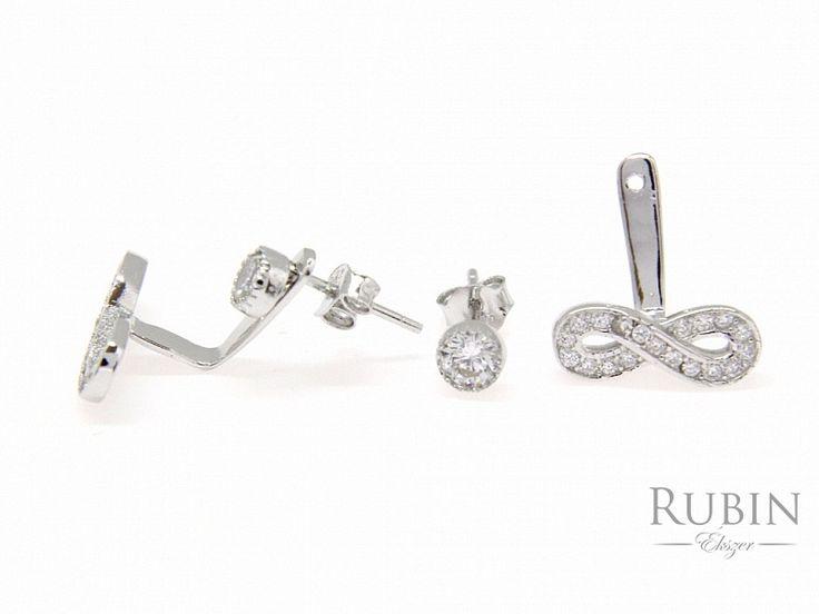 Cirkónia köves végtelen motívumos több funkciós ezüst  beszúrós fülbevaló