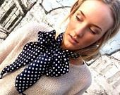 Neck Bow Scarflette - Ascot Tie Scarf - Black Polka Dot Women's Fashion Ascot Thin Scarf Lady Tie - Bow Tie Collar or Head wrap