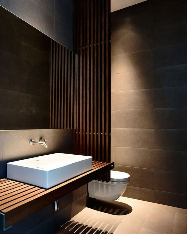 This creates a wood look in the bathroom | Mrwoon