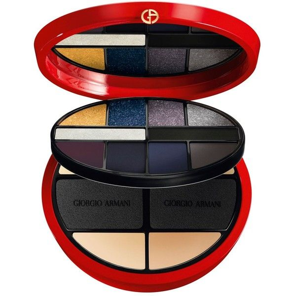 Armani Face & Eye Makeup Palette, Holiday Color Collection ($100) ❤ liked on Polyvore featuring beauty products, makeup, face makeup, no color, powder brush, pressed powder brush, balm makeup, eye pencil makeup and palette makeup