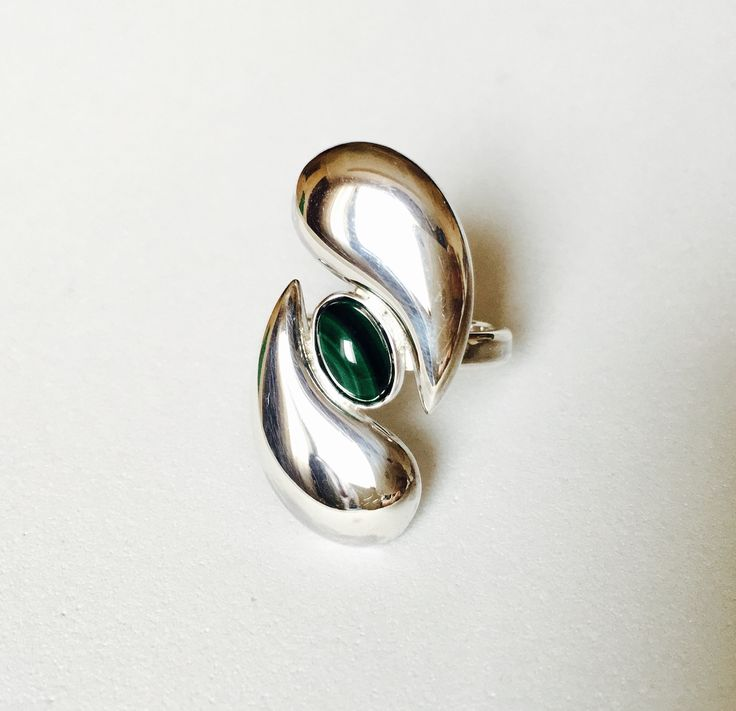 Ring. Sterling silver, Malachite. $100