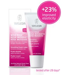 Prematurely aging skin gets radiant moisture with this light, quickly absorbed day and night all natural face cream. Weleda Wild Rose Smoothing Facial Lotion helps your skin's natural growth process to soften fine lines and maintain its youth and vitality.
