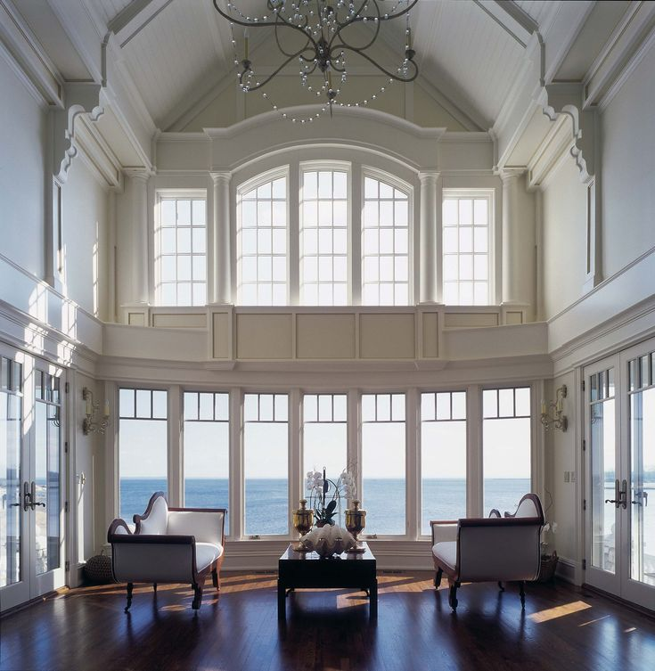 Living room - gorgeous - double height space with ocean view | Robert A. Cardello Architects
