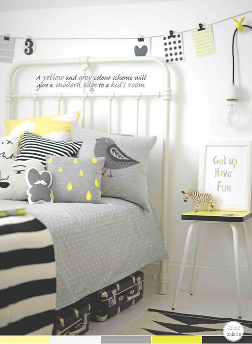 Black, grey and yellow bedroom (Photography by Max Attenborough; Styling by Charlotte Love)