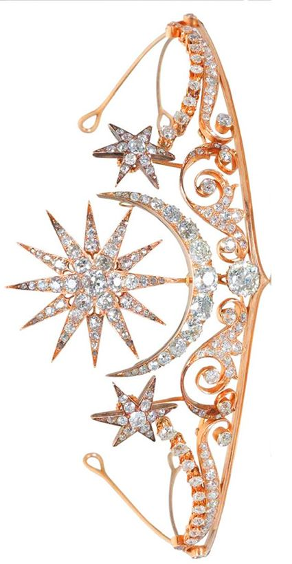 A Diamond Tiara, ca, 1900, fitted case by Cav. Vincenzo Giura Giojelliere, Napoli, via Bonhams.