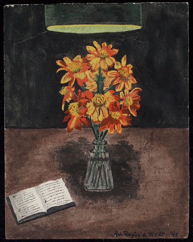 Bloemen bij Lamplicht compositie Bloemen gekweekt in mijn kamptuintje in het Militair Hospitaal te Tjimahi. cinneraria'