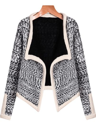 Black Long Sleeve Slim Crop Cardigan