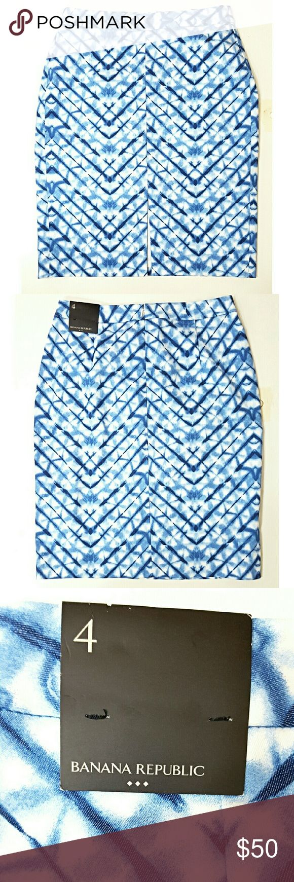 Banana  Republic Blue & White Skirt Blue and white abstract print with back zip closure.  Brand new with tags Banana Republic Skirts Midi