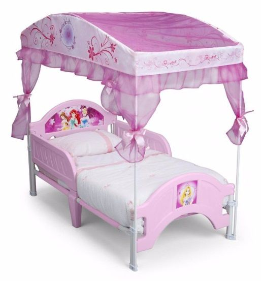 The Disney® Princess toddler canopy bed is the perfect place for your little one to get some beauty rest. Designed with Disney princesses and an adorable sheer canopy, your child will get well-deserved sleep every single night. The canopy bed is built low to the ground for easy access and comes with side rails for safe and secure sleeping.
