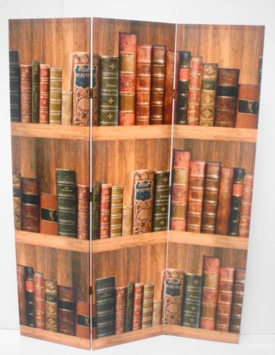Retro 3 Panel Old Book Theme Dressing Folding Screen Room Divider Partition
