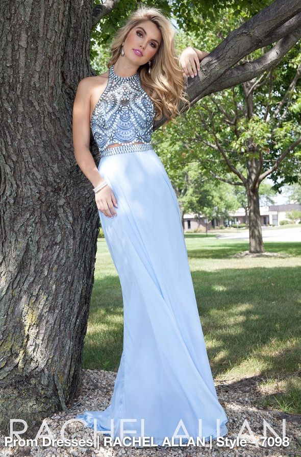 Rachel Allan two piece baby blue prom dress.