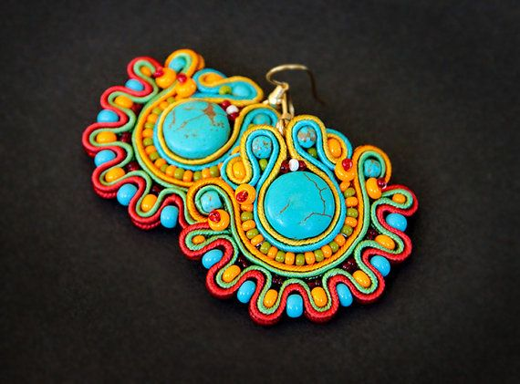 Colourful soutache earrings by pUkke on Etsy, €32.00