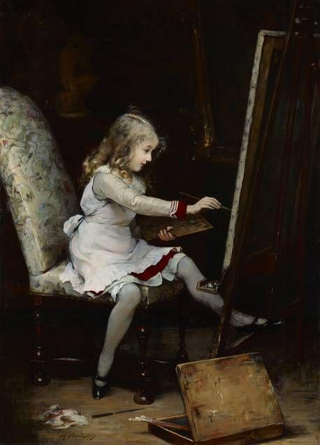 Auguste Baud-Bovy (Genève, 1848 - Davos, 1899)  Portrait d'enfant. Valentin en train de peindre, grandeur nature, 1883
