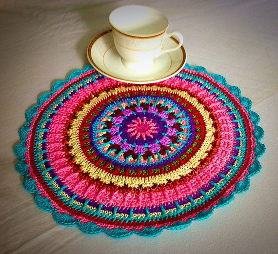 Crochet Placemat Pattern  Colorful Crochet by CROCHETbyNeelam