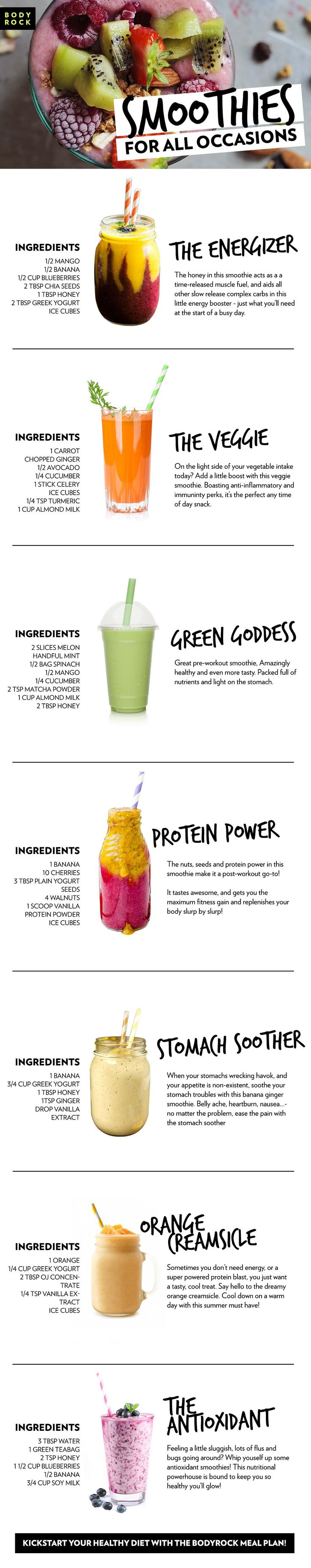 A smoothie for all occasions! Whether you need an energy boost, or a post-workout snack, check out these awesome smoothie recipes. Improve your diet and health with the BodyRock meal plan!