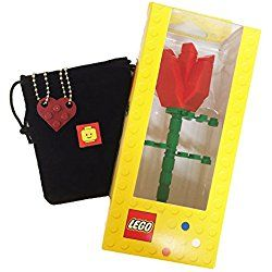 """Lego Valentine Heart Necklace and Red Rose Bundle (2) Dark Red Modified 3 x 2 Plates (1) Black Velvet Drawstring Pouch (2) 24"""" Nickel Plated Ball Chains and (1) Red Rose"""