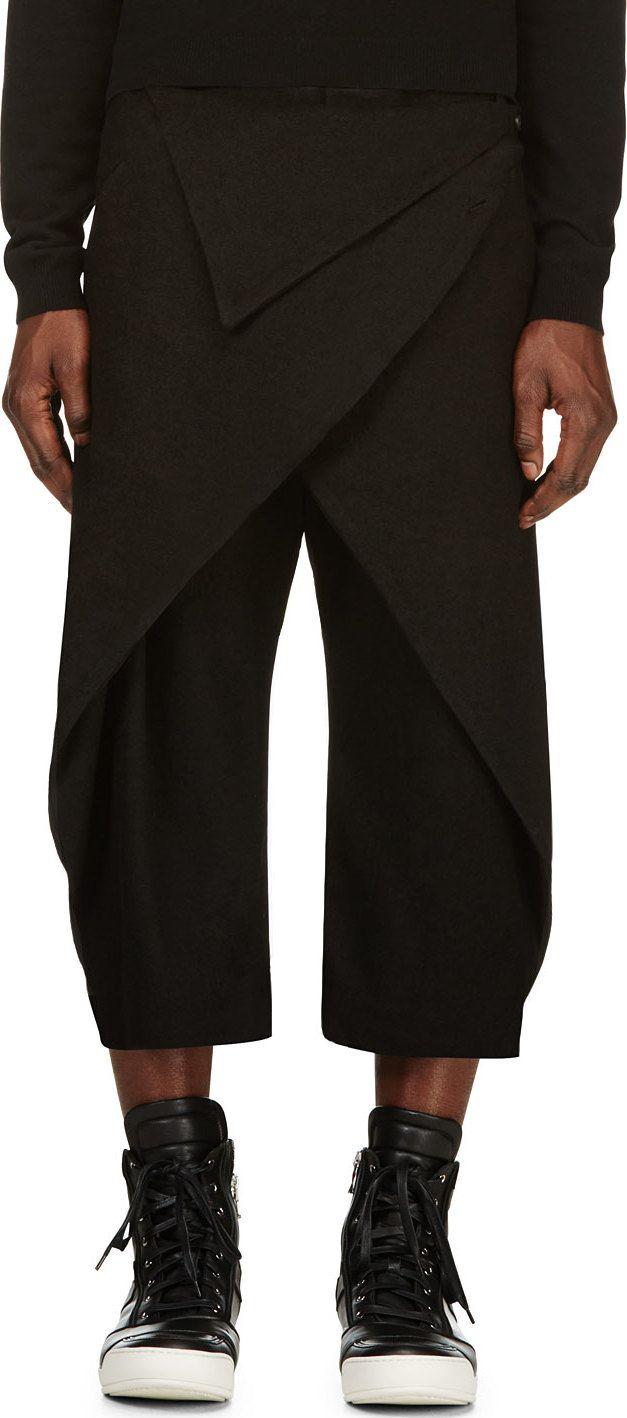 D.Gnak by Kang.D - Black Folded Overlap Trousers | SSENSE