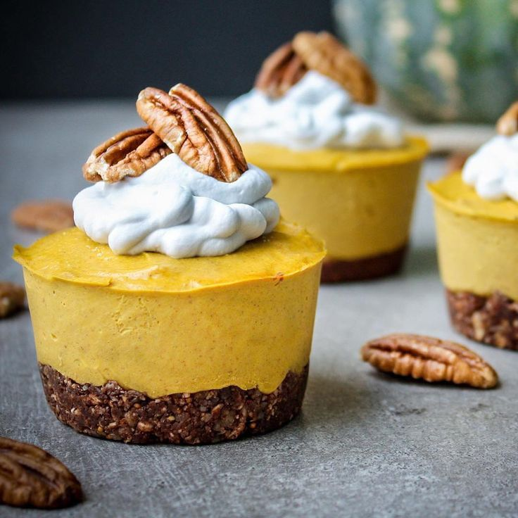 Pumpkin Pie Cheesecakes by @healthyeating_jo  (Makes 8 muffin size, 16 mini or one round cheesecake)  Base 1/2 cup of almonds (or mixed nuts of choice) 1/8 cup shredded coconut 1 Tbsp cacao 1/4 cup chopped dried fruit (soaked 15mins in boiling water and drained) eg Dates, figs, sultanas  Add almonds, coconut and cacao to food processor and blend for a few seconds. Add the drained dried fruit and blend until crumbly. Press into bases of silicon muffin tray with your fingers, and put in the…
