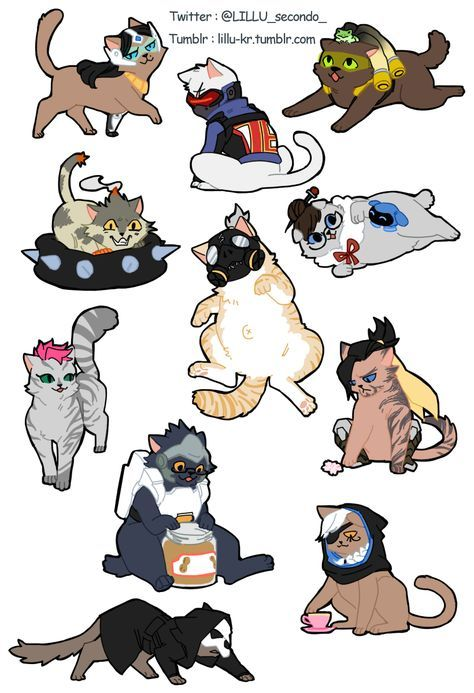 overwatch cats redrawing.