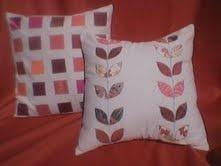 linen cushions applique leaves, squares