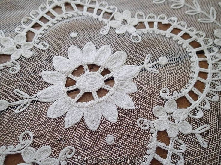 Lovely Antique Off White Tambour Lace Table Runner French Net