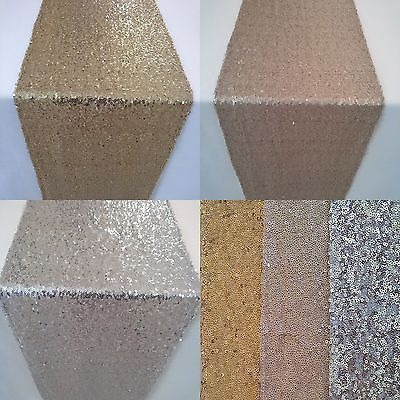 Gold Silver Champagne Sequin Table Runner Wedding Sparkly Bling Party Decoration