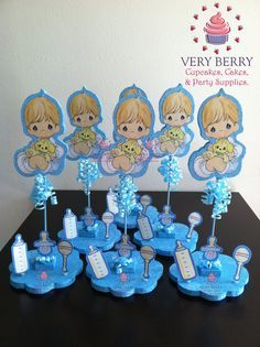 6 Precious Moments Baby Boy Glitter Centerpieces by VeryberryParty, $108.00