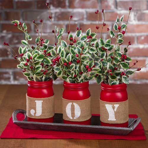 Christmas Joy Mason Jar Tablescape, cute flower vases with festive holly