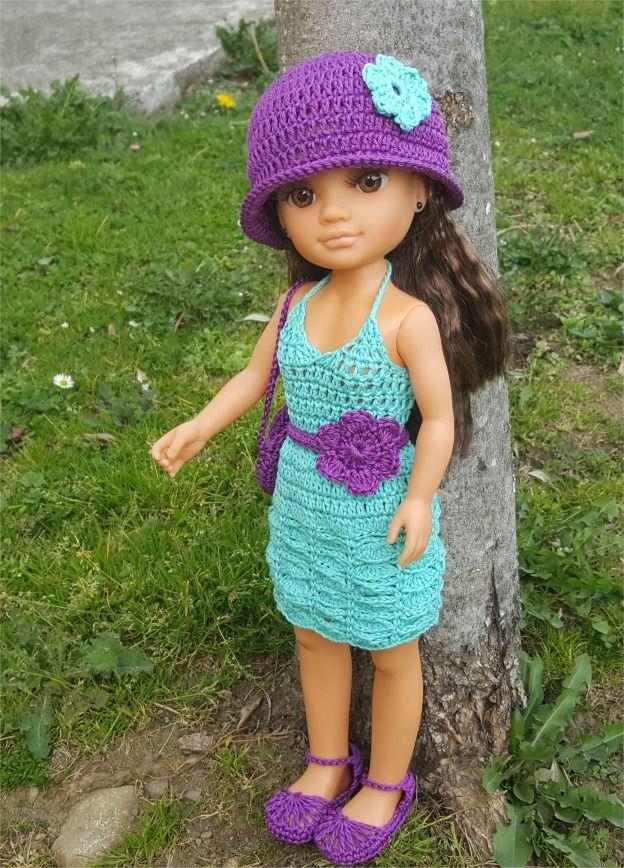 """121- FICHE PATRON CROCHET Ensemble """"Glycine"""" pour poupée Nancy : Jeux, jouets par atelier-crochet"""