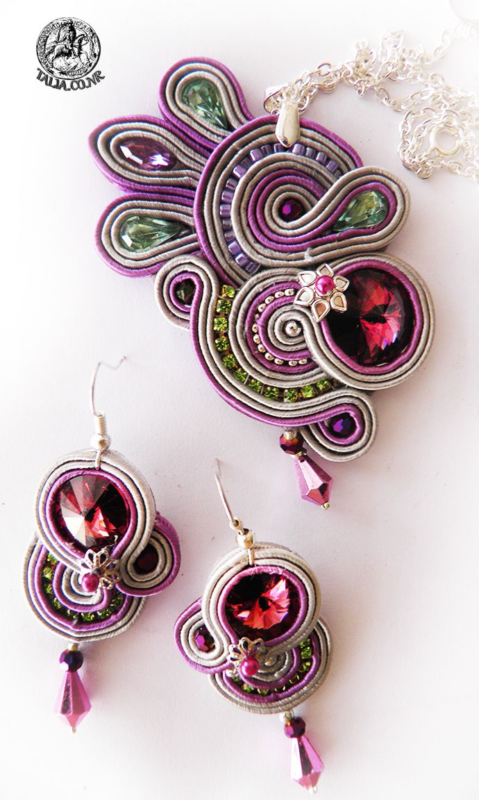 Soutache set earrings and pendant in Pink by caricatalia on DeviantArt