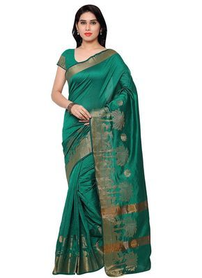 Buy Green Benarasi Art Silk Saree online from the wide collection of sari.  This Blue colored sari in Art Silk fabric goes well with any occasion. Shop online Designer sari from cbazaar at the lowest price.