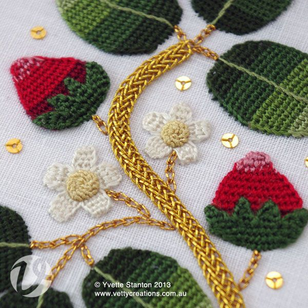 Elizabethan strawberries panel class with Yvette Stanton. Elizabethan embroidery often featured plants and the small creatures who live around them. This colourful design features luscious strawberries and a couple of little critters.  Explore traditional Elizabethan stitches including corded detached buttonhole stitch, corded Brussels stitch and plaited braid stitch. We will be using silks, metallic threads, and sparkly spangles. For experienced embroiderers.