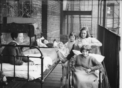 A group of children at the Queen's Hospital for Children, 327 Hackney Road, c. 1910. The North Eastern Hospital for Children was founded in 1867 and moved to 327 Hackney Road in 1870. It was renamed the Queen's Hospital in 1907 and closed in 1997 when its services were transferred to The Royal London Hospital. photograph by Philip Brain