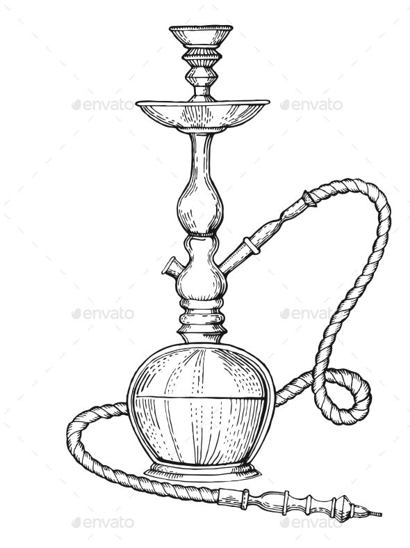 Hookah Engraving Style Vector Illustration Hookah