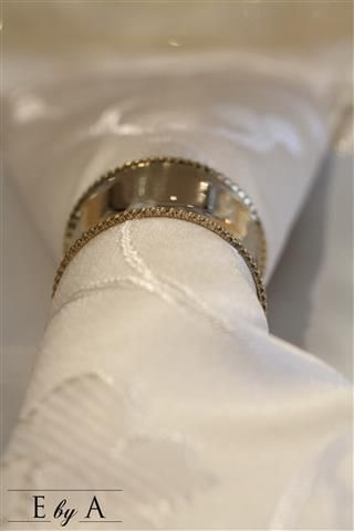 Gold Napkin ring on Cream Embossed Napkin www.ebya.co.za