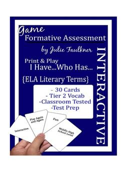 """Elements of Literature Terms """"I Have...Who Has"""" Test Prep"""