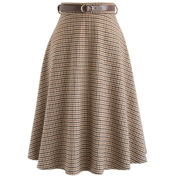 Chicwish Winsome Houndstooth Tweed A Line Skirt in Mustard